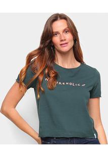 Camiseta Cantão Baby Look Natureholic Feminina - Feminino-Verde Escuro