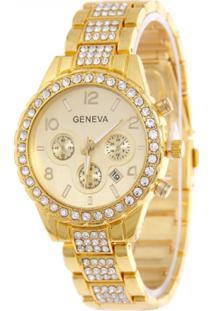 Relógio Feminino De Pulso Analógico Geneva Com Strass - Dourado