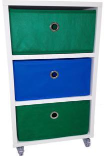 Criado Mudo 3 Caixas Organizadoras Verde Azul