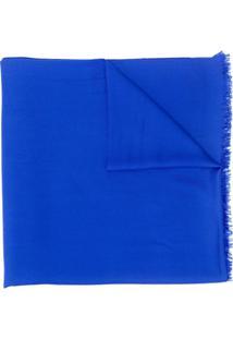 N.Peal Cachecol De Cashmere Com Acabamento De Franjas - Azul