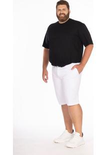Bermuda Sarja Plus Size Bolso-Faca Longford Branco