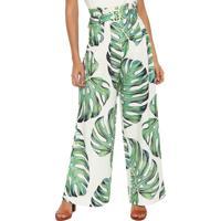 a43037815 Calça Linho Lez A Lez Pantalona Clochard Estampada Verde Off-White