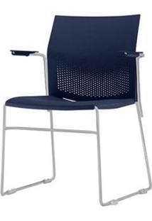 Cadeira Connect Com Braco Assento Azul Base Fixa Cinza - 53798 - Sun House