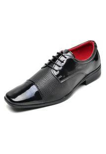 Sapato Social Masculino Com Cadarço Em Verniz Top Flex Preto