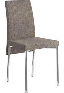 Kit 2 Cadeiras 306 Tecido Cromado Móveis Carraro Marrom