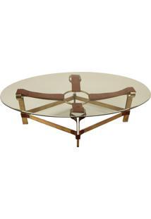 Mesa De Centro Decorativa Oval Em Bronze Lantus Com Detalhes De Couro