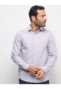 Camisa Manga Longa Vr Listras Finas Masculina - Masculino