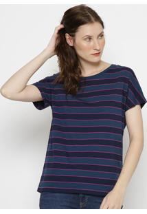 Camiseta Listrada- Azul Marinho & Pink- Lacostelacoste