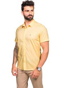 Camisa Manga Curta Tony Menswear Slim De Algodão Amarelo