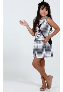 Vestido Infantil Listrado Brinde Bolsa Mininie Disney