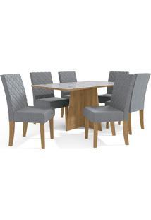 Mesa Para Sala De Jantar Com 6 Cadeiras Ba25-Kappesberg - Freijo / Cinza