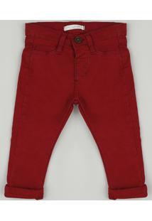 Calça De Sarja Infantil Skinny Com Bolsos Vermelha