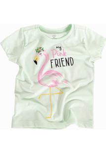 Camiseta Doll Up Flamingo Manga Curta Menina Verde Claro