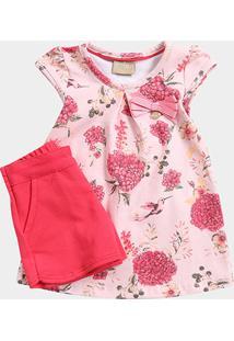 Conjunto Infantil Milon Floral Lacinho Feminino - Feminino