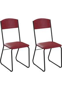 Conjunto Com 2 Cadeiras Byron Vinho E Preto