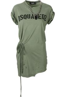 Dsquared2 Minivestido Destroyed Com Nó - Green