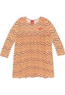 Vestido Kyly Infantil Geométrico Laranja