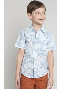 Camisa Infantil Estampada Floral Com Bolso Manga Curta Azul Claro