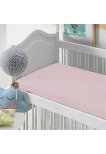 Lençol Com Elástico Baby Altenburg Malha In Cotton 100% Algodáo Rosê Natural - Rosa Rosa - Tricae