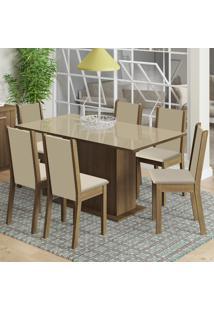 Conjunto Sala De Jantar Madesa Moscou Plus Mesa Tampo De Vidro Com 6 Cadeiras Marrom - Marrom - Dafiti