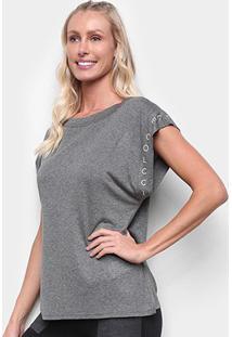 Camiseta Colcci Lettering Feminina - Feminino-Grafite