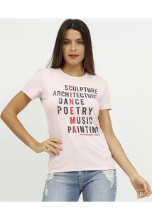 """Camiseta """"Cinema"""" Com Recortes- Rosa & Vermelha- Coccoca-Cola"""