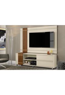 Rack Belaflex Bancada Com Painel Para Tv Orion Off White/Carvalho Munique