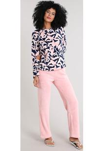 Pijama Feminino Em Plush Estampado De Folhagem Rosa Claro