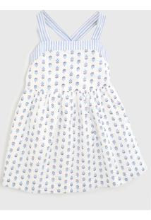 Vestido Gap Infantil Flores Branco/Azul - Tricae