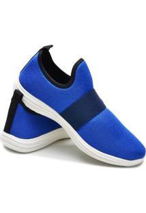 Tênis Caminhada Icalçados Elástico Super Leve Confortavel Masculino - Masculino-Azul Claro