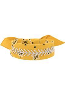 Fallon Choker Bandana Com Aplicações - Amarelo