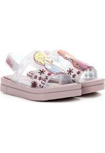 Sandália Infantil Grendene Kids Frozen Magia - Feminino-Rosa