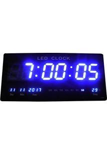 10359f27c32 Relogio De Parede De Led Azul Digital Alarme Data Temperatura (Rel-61)