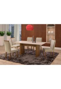 Conjunto De Mesa De Jantar Com 6 Cadeiras E Tampo De Madeira Maciça Milão Reta I Suede Creme E Off White