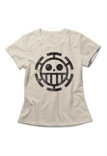 Camiseta Feminina One Piece Trafalgar Law Bege
