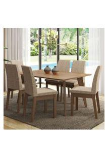 Conjunto Sala De Jantar Madesa Bruna Mesa Tampo De Madeira Com 6 Cadeiras Rustic/Fendi Cor:Rustic/Fendi
