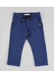 Calça Infantil Botonê Com Cordão E Bolsos Azul Marinho
