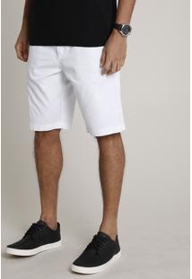Bermuda De Sarja Masculina Reta Alfaiatada Branca