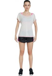 Camiseta La Clofit Line Creme Com Detalhe Rosa