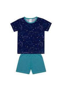 Conjunto Pijama Menino Em Meia Malha Camiseta Marinho Rotativa E Bermuda Verde Claro - Liga Nessa