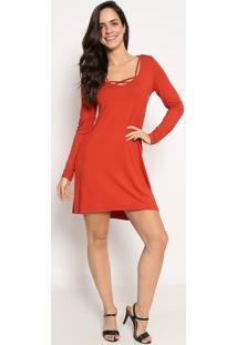 Vestido Alongado Com Recortes- Vermelho- Sommersommer