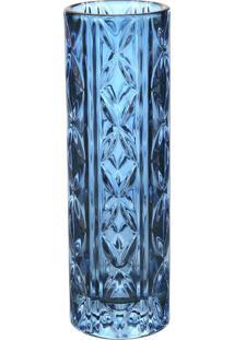 Vaso Solitário L Hermitage Ii Transparente Azul