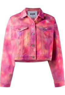 Msgm Jaqueta Jeans Cropped Tie-Dye - Rosa