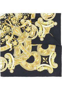 Versace Echarpe De Seda Estampada - Preto