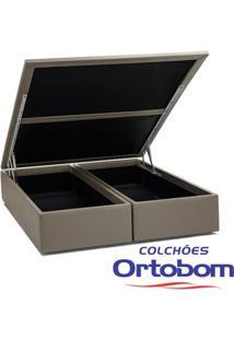 Box Casal Com Baú - Bi-Partido - Corino Crema - Ortobom
