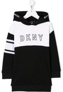 Dkny Kids Vestido Com Logo Bordado - Preto