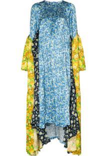 Vetements Vestido Midi Assimétrico Com Estampa Floral - Azul