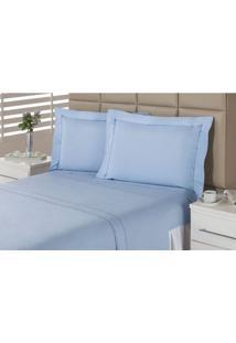 Jogo De Lençol Premium Azure Casal Azul Percal 233 Fios