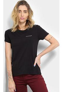 Camiseta Calvin Klein Mc Logo Feminina - Feminino-Preto