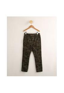 Calça De Moletom Infantil Jogger Estampada Camuflada Com Bolsos Verde Militar